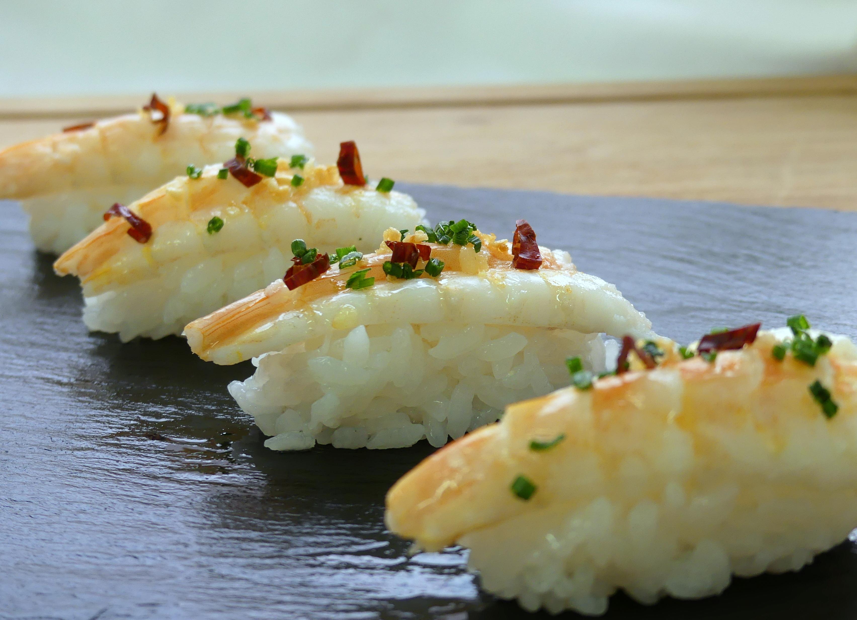 Nigiri Sushi De Gamba Al Ajillo Gastronomia Vasca Escuela De Hosteleria Leioa