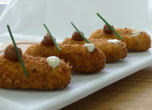 "Ham croquette ""50 grams"" shallot toffee and parmesan chantilly"