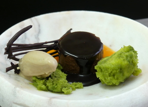 Chocolate pudding with Early grey tea ice cream and pistachio sponge