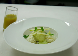 Different textures of granny smith apple, gin, wasabi, basil cream and yogurt (Pintxo)