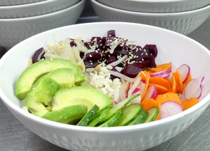 Avocado and beet vegan poke with brown rice