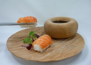 Smoked salmon nigiri (Finger food)