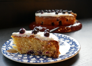 Orange and blueberry sponge cake