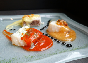 Cod prepared at three styles ( pil-pil, Bisacyne and Ranero club)