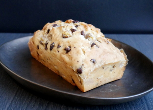 Vegan banana sponge cake with chocolate chips