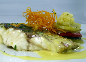 Roasted sea bass with saffron sauce