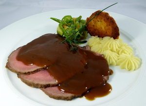 English style roast beef with aromatic herbs