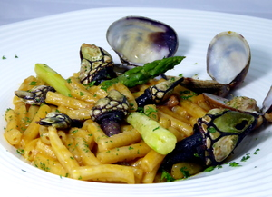 """Fideua"" with barnacles, clams and wild asparagus"
