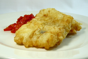 Battered cod with piperrada (garlic, onion,green and red peppers stew)