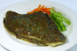 Grilled turbot with mixed vegetables in Julienne