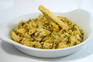 Scrambled eggs with cod