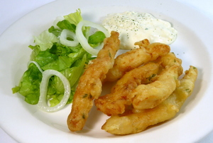 Battered hake sticks with tartar sauce