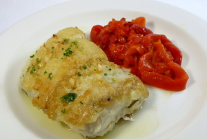 Grilled whiting with red pepper stew
