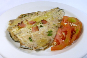 Roasted trout with tomato salad