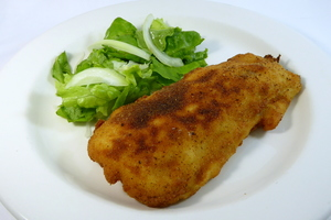 Villeroy chicken breasts with salad