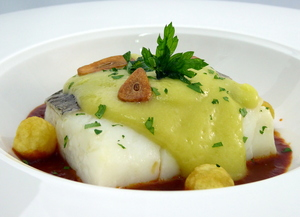Cod pil-pil on biscayne sauce