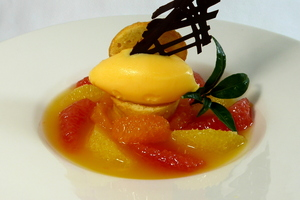 Citrus assortment its own sherbet and four quarters sponge cake