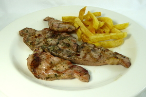 Grilled turkey chop with french fries