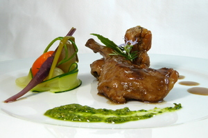 Rabbit marinated with Módena vinegar and vegetables