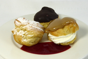 Petit choux filled with cream and custard