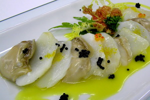 Oysters and cod salad with pil pil and orange juice