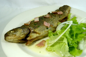 Fried trout with lettuce salad