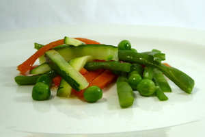 Mixed vegetables cut into sticks