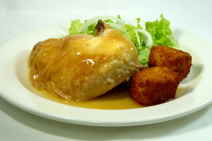 Roast chicken with croquettes and salad