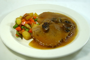 Braised eye round with mixed vegetables