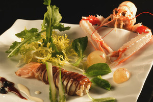 Crayfish and mushroom salad on smoked fish