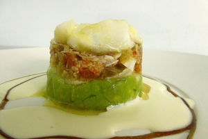 Cod and avocado warm salad