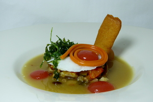 Squids lasagna filled by cep mushrooms, with potato and quids soup