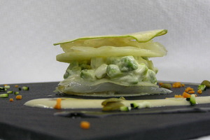 Apple and smoked cod millefeuille with cep mushrooms pil pil