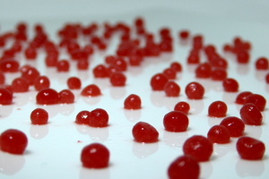 Strawberry caviar-sized spheres