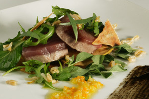 Marinated albacore warm salad with citrus fruits