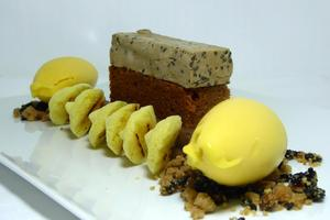 Passion-fruit sherbet, black sesame seeds, coffee sponge cake and chocolate