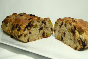 Chocolate, pistachios and cinnamon bread