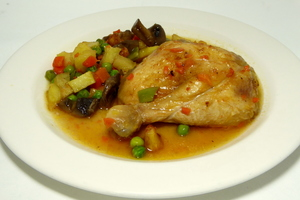 Braised chicken with mixed vegetables