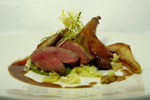 Roasted squab with collard greens