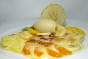 Zabaione cream with glazed fruits