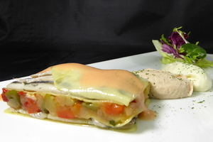 Cold lasagna filled by anchovies and vegetables  with albacore mousse.