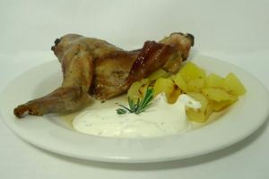 Roasted rabbit with rissole potatoes and fine herb alioli