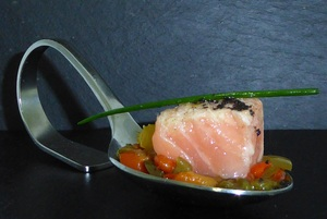 Marinated salmon on ratatouille