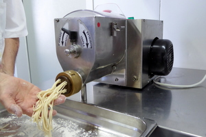 Fresh pasta made in a special machine