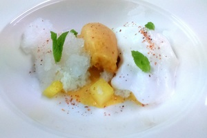 Steamed coconut sponge, green cardamom and pineapple
