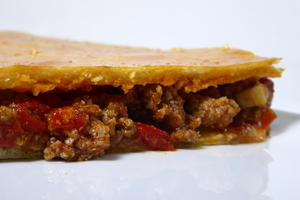 Minced meat and chorizo patty