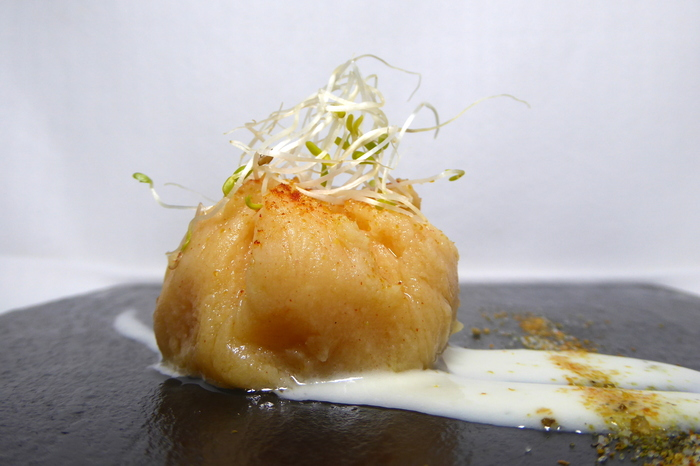 Mashed potatoes stuffed with boiled octopus