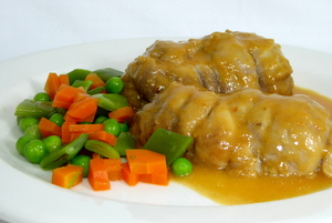 Pork shank stew with mixed vegetables