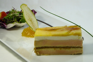 Foie gras, goat cheese and caramelized apple mille-feuille