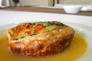 Chards pie with pumpkin cream